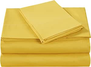 Style Homes 3 件套/4 件套奢华床单套装 - 超软超细纤维,纯色,抗皱防缩水,低*性 Spicy Mustard 两个 XL 輸入品