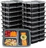 Ez Prepa [20 件装] 含盖的美食储物盒 - 食品储存盒便当盒午餐盒由不含 BPA 的塑料制成,可叠放、可重复使用、可微波加热、冷冻和洗碗机 3 Compartment 3 Compartment
