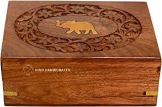 Hind Handicrafts 手工木制黄铜大象镶嵌雕刻手工雕刻首饰盒/金属盒 - 收纳和整理(6 英寸 x 4 英寸 x 2.5 英寸,自然)