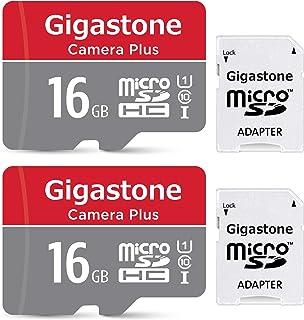 Gigastone 16GB 2 件装 Micro SD 卡,相机加 90MB/s,全高清视频,U1 C10 Class 10 Micro SDHC UHS-I 内存卡,带 MicroSD 转 SD 适配器
