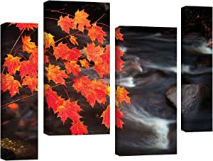 ArtWall 4 Piece James Thompson's Maple Leaves Gallery Wrapped Canvas Staggered Set