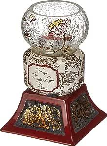 Up Words by Pavilion Crimson Tea Light Candle Holder, Hope Faith Love Peace Sentiment, 5-1/2-Inch Tall, Includes Tea Light Candle