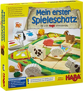Haba 4278 Mein erster Spieleschatz 大型HABA游戏合集 10块 娱乐板 备忘录 纸牌 儿童友好木制游戏材料 3岁+