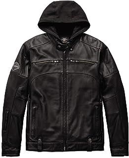 Harley-Davidson 官方男式摇臂三合一皮夹克,黑色