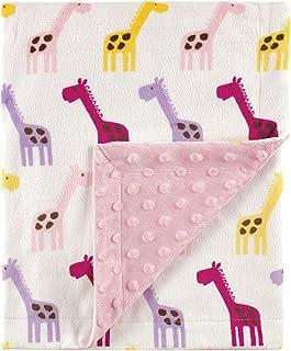 Hudson Baby 印花貂毛毯带圆点背衬 粉色长颈鹿