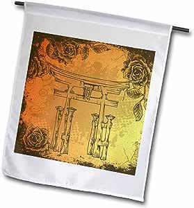 dooni Designs 东方灵感设计–日式门带复古人造 etches 玫瑰东方亚洲灵感艺术礼品–旗帜 12 x 18 inch Garden Flag