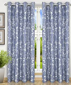 Ellis Curtain Meadow 织纹花卉图案 钴蓝色 Grommet Top Panel, 50 x 63""