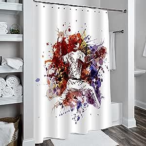 """MitoVilla 3D 印花图案浴帘浴室装饰,重型防水涤纶面料浴室配件,防霉* 图案 7 72""""x78"""""""