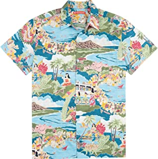 Tori Richard Boat Day Aloha 棉草坪野營襯衫 - 湖藍色