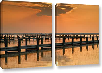"""ArtWall 2 Piece Steve Ainsworth's Silver and Gold Gallery Wrapped Canvas Set, 32 x 48"""""""