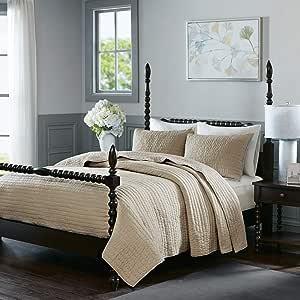 Madison Park Serene 棉手工绗缝枕套套装 Linen Full/Queen MPS13-270