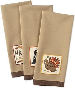 dii 棉质感恩节假期餐具毛巾21.59cmx27.94cm 3件套装饰超大刺绣厨房毛巾完美家庭和厨房 gift-country 南瓜
