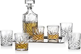 DUBLIN CRYSTAL 8 件威士忌套装 - 包括一个*器、6副玻璃杯和一个镀银托盘。