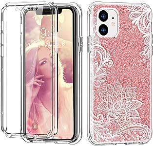 Hocase iPhone 11 手机壳带屏幕保护膜,全机身保护塑料前壳+硬 TPU 防震保护壳适用于 iPhone 11(6.1 英寸显示屏)2019 Glitter Rose Gold Lotus Flower