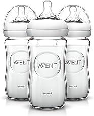 Philips AVENT 天然玻璃奶瓶, 8 Ounce(240ml) (3个)