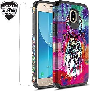 三星 Galaxy J7 V *二代/J7 Refine/J7 Top/J7 Star/J7 Aura/J7 2018 手机壳带钢化玻璃屏幕保护膜,Rosebono 混合图案彩色保护壳适用于 SM-J737 梦捕手