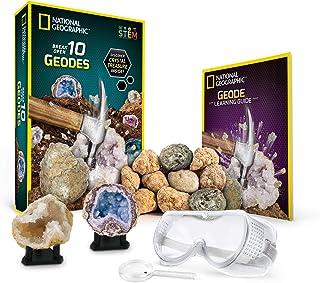 National Geographic 国家地理 破开 10 优质晶洞 - 包括护目镜、详细的学习指南和2个陈列架 - 适合任何年龄段的矿物和地质爱好者的科学礼物