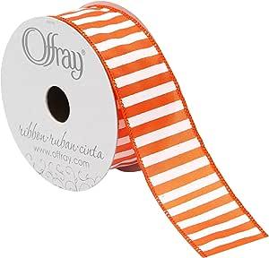Offray 有线边缘粗条纹丝带,3.81 cm 宽 橙色 10 Yards 988785