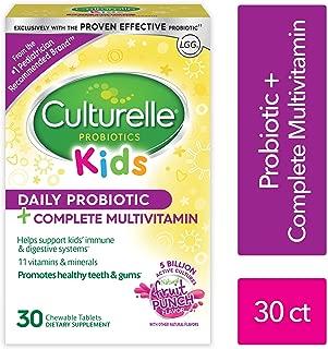 Culturelle 兒童益生菌+完整的多種維生素 咀嚼 維生素A, C, E的優秀來源 含有LGG 經過驗證的益生菌| 30粒