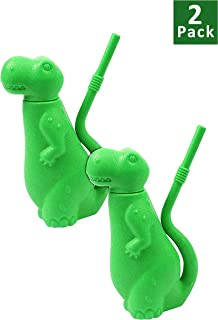 Brite Concepts 恐龙形状吸管杯,塑料,6 盎司 绿色 2 件装