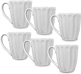 Klikel 8 个白色晚餐马克杯 - 283.5 毫升实心,平底层 - 瓷器餐具 白色 14 盎司 60010-6M