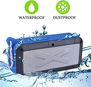 Solar/Battery Powered 2x3W 蓝牙扬声器防溅便携式无线 MP3 播放器,带内置麦克风、FM 收音机/MicroSD 卡RAYJAMBLUE 蓝色
