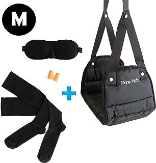 飞机脚踏板*泡沫和飞机旅行配件套装。 脚部和腿托,压缩袜,耳塞和眼罩。 舒适脚吊床和长飞行必备品 | 中号