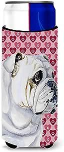 Bulldog English Hearts Love Valentine's Day Michelob Ultra Koozies for slim cans LH9139MUK 多色 Slim