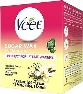 VEET Sugar Wax *器 - 非常适合首次蜡机 - 包含 12 个织物带和 1 个抹刀,带温度指示灯