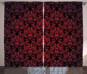 Red and Black Curtains by Ambesonne, Victorian Antique Old European Design Floral Swirls and Leaves Ombre Image, Living Room Bedroom Window Drapes 2 Panel Set, 108W X 63L Inches, Burgundy