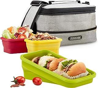 FLEX&LOCK 可折叠午餐盒 – 硅胶便当午餐盒储物盒和隔热袋套装,不含 BPA,微波炉,冰箱和洗碗机*- 3 个带保温袋 灰色 Lunch box set - 3 containers with Insulated bag