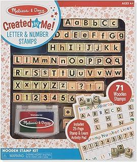 Melissa & Doug Created by Me! Letter&#Abcs 123S木制印章套件,活动本,4色印泥