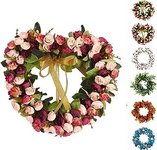Baigio 女士花环手工制作人造花丝花环适合前门家庭墙壁婚礼装饰 心形 14英寸 BGM-174533