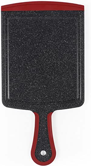 "Neoflam 7"" Plastic Cutting Board Paddle in Black Marble and Red - BPA Free, Non Slip, Dishwasher Safe, Microban Antimicrobial Protection"