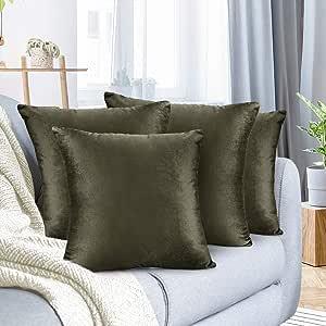Nestl 床上用品抱枕套柔软方形装饰抱枕套舒适天鹅绒靠垫套沙发沙发沙发卧室 卡其色 4 - 16x16