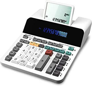 Sharp EL-1901 无纸打印计算器,带方格和正确,12 位 LCD