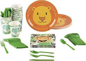 动物派对用品 - 24件装 - 包括盘子、刀、汤匙、叉子、杯子和餐巾纸。 儿童主题生日派对和婴儿洗礼的完美派对套装 Zoo Animal GDPLS