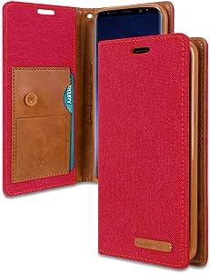 Galaxy S9 Plus 钱包式手机壳赠送 5 赠礼,【防震】帆布翻盖【Ver。 Kraken] ID 卡/卡槽带支架对开式保护套适用于三星 GalaxyS9Plus4336652149 红色/棕色