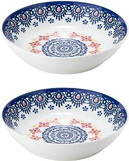 NARUMI 鸣海 餐盘 盘子 组合装 花纹花边 蓝色 直径20cm 2件装 咖喱&意面 微波炉可用 41640-33373