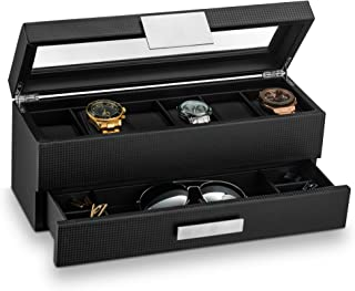 Glenor Co 男式手表盒带阀抽屉 – 6 插槽奢华手表盒显示整理器,碳纤维设计 – 男式珠宝手表金属扣,男式储物盒配有大号玻璃顶