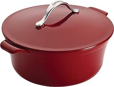Anolon Vesta Cast Iron Cookware 7-Quart Round Covered Casserole, Paprika Red