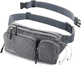 Fanny Pack 男女款可爱腰包 - 徒步旅行野营跑步 - 耳机孔,6 个口袋,皮带延长带 - 方便携带任何手机、护照、钱包 - 防水支架