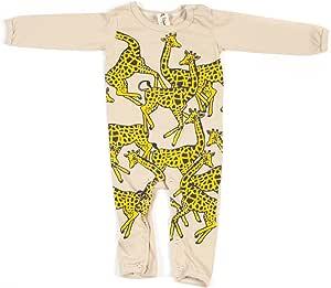 婴儿连体衣 - 米黄色 - 长颈鹿长袖连体衣 - 超柔软%100 *棉 米色 6-12 个月