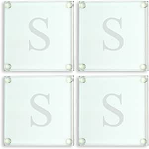 Cathy's Concepts Personalized Glass Coasters, Monogrammed S, Set of 4