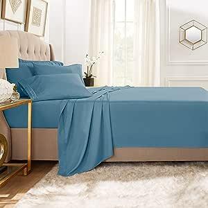 Clara Clark Premier 1800 系列 5 件套床单套装,带额外枕套 Blue Heaven 全 XL CC-6pc-Sheets-FXL-heavn