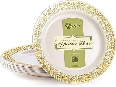 """蕾丝象牙金色装饰 象牙色 7.5"""" Appetizer Plates LC740GRIV"""