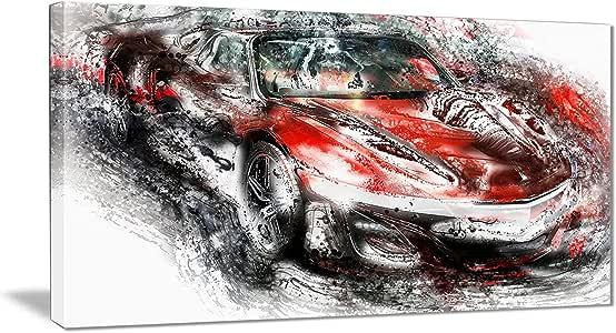 数字艺术 PT2618-271 黑色和红色运动汽车墙壁艺术印刷品