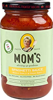 Mom's Pasta Sauce, Garlic & Basil, 14 Ounce (Pack of 6)