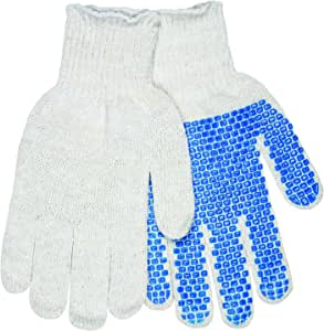 MCR Safety 9643SM Heavy Weight Gray Cotton/Polyester Synthetic Blend 7 Gauge Gloves with Yellow Hem Cuff, Multi-Color, Small, 1-Pair