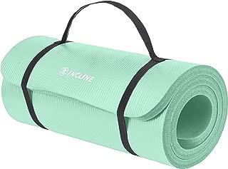 Incline Fit 运动垫 Ananda 1 英寸超厚带肩带锻炼垫 - 瑜伽、普拉提、拉伸、冥想、地板和健身锻炼防滑